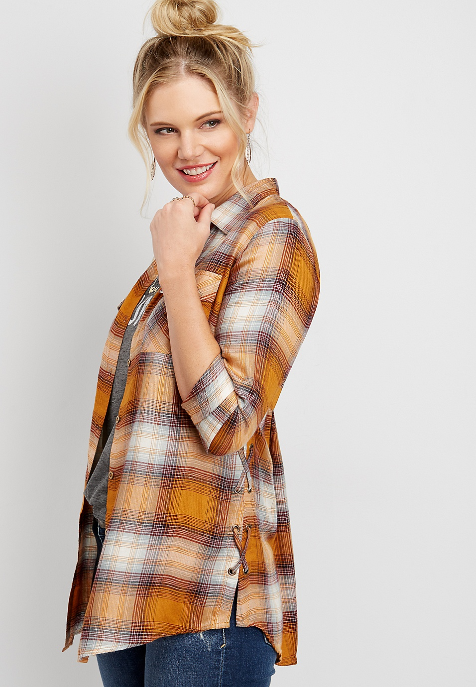 e983cd4b3 lace up side plaid button down tunic shirt   maurices