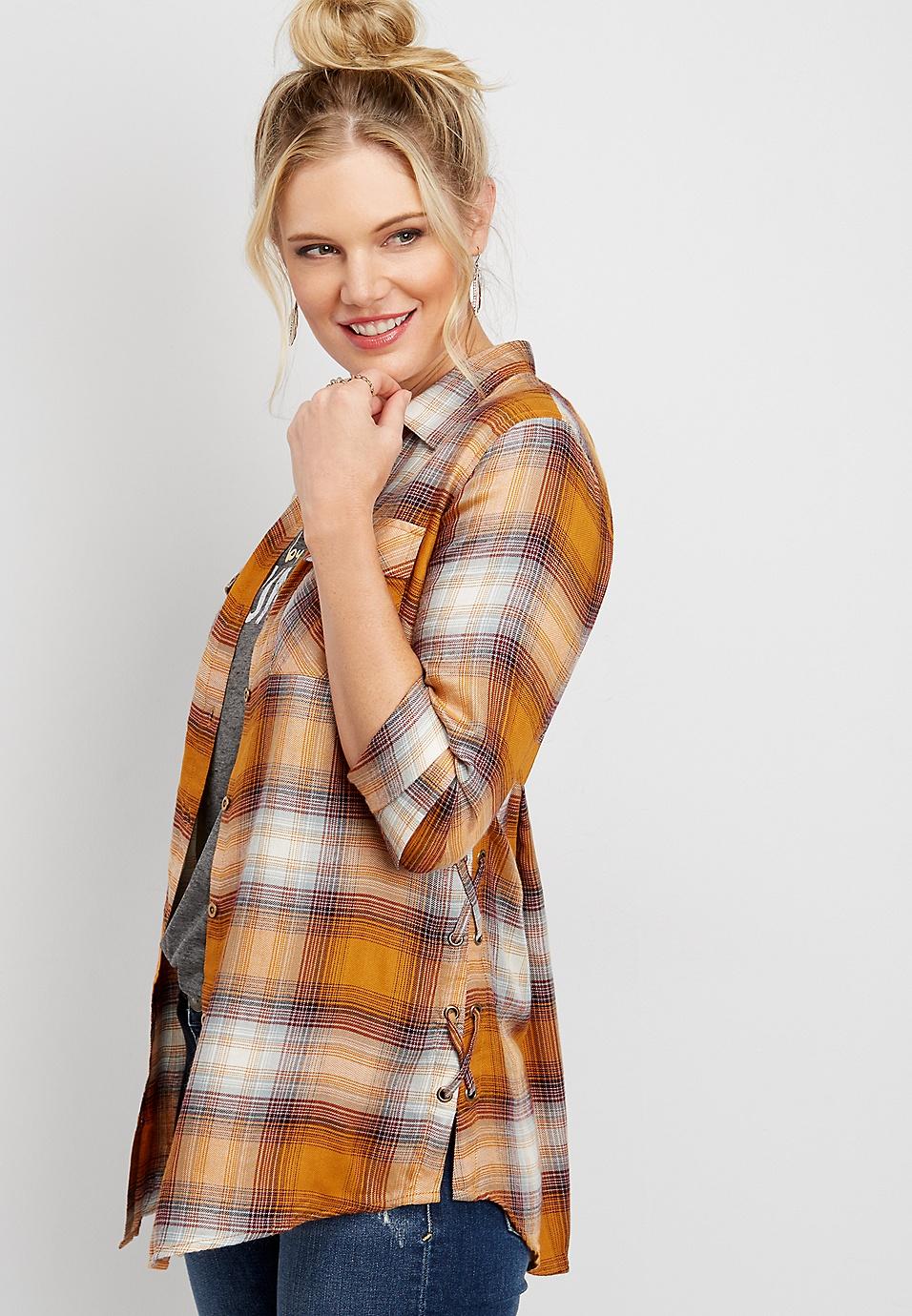 8de6242345740e lace up side plaid button down tunic shirt | maurices