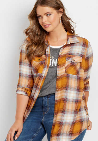 plus size lace up side plaid button down tunic shirt