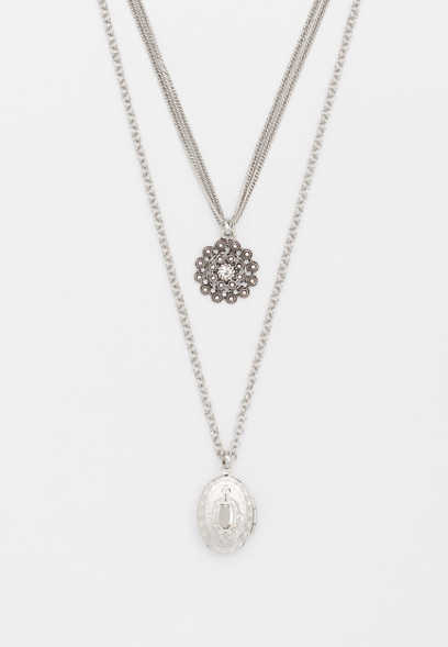 two row locket pendant necklace
