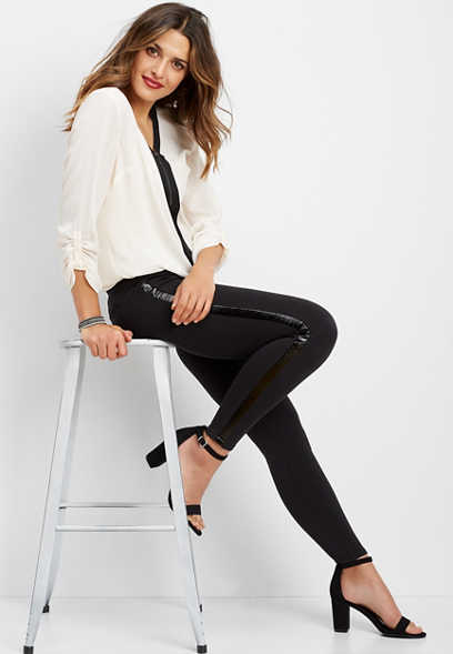 ponte side stripe skinny ankle pant