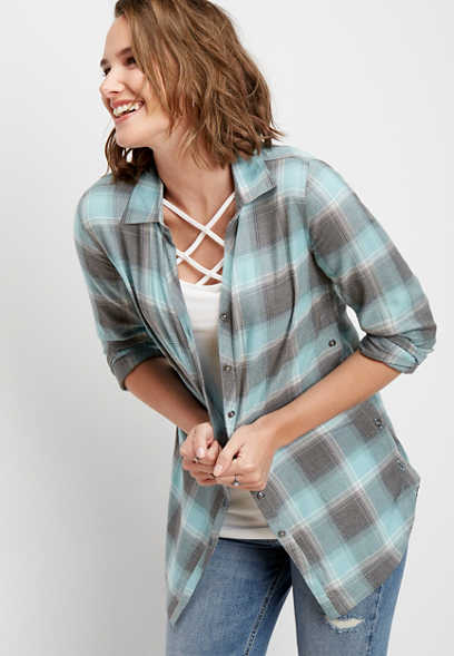 plaid button side button down shirt