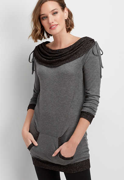 cinched cowl neck brushed tunic pullover
