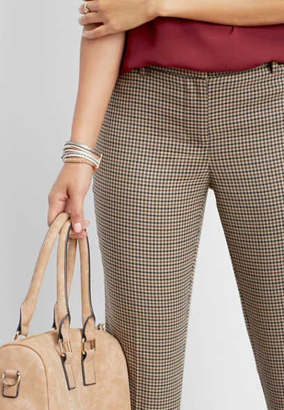 houndstooth patterned slim boot pant