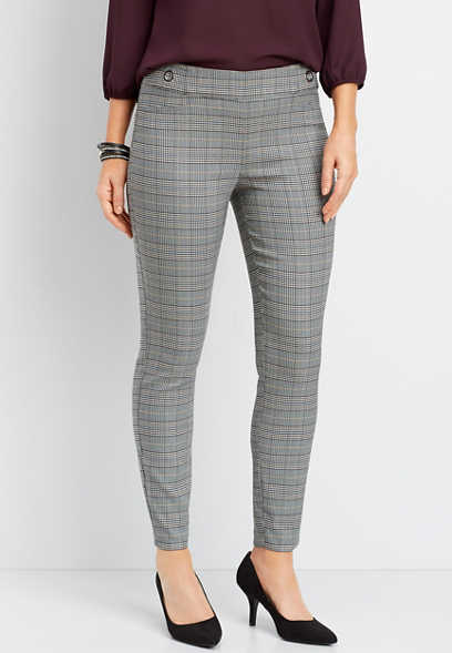 gray plaid pull on ankle pant
