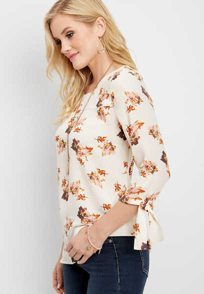 floral tie sleeve blouse