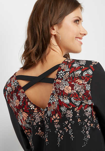 strappy back floral blouse