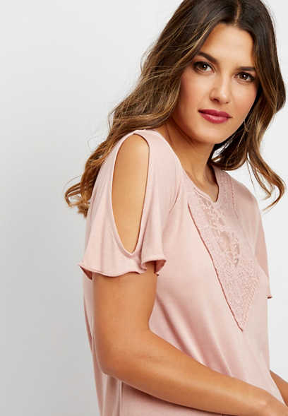 crocheted neck cold shoulder tee