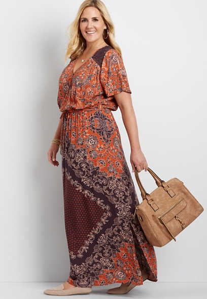 plus size medallion print maxi dress
