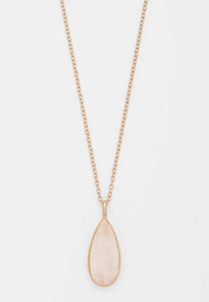 pink stone teardrop pendant necklace