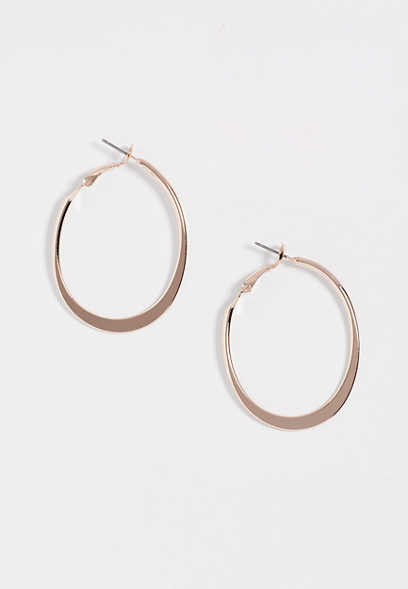 rose gold oblong hoop earring