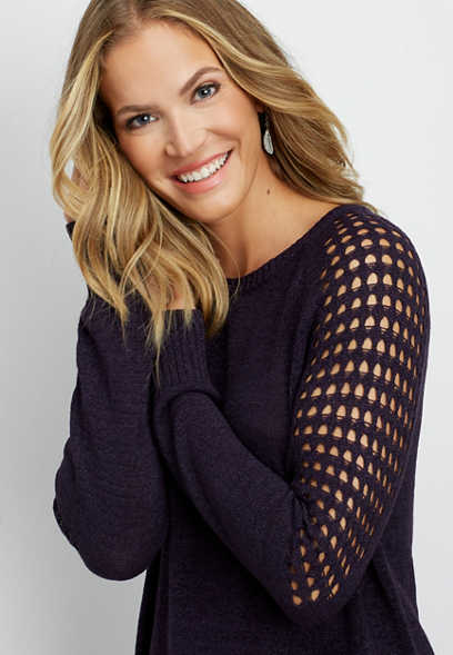 open shoulder stitch tunic sweater