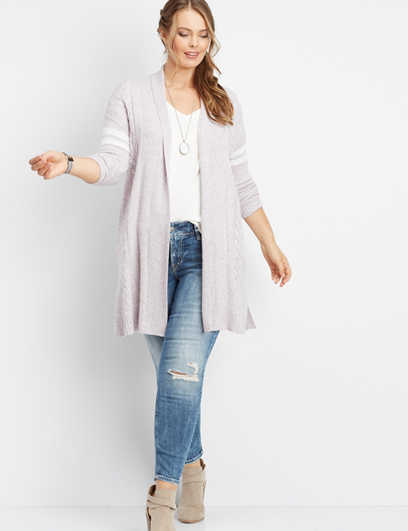 plus size varsity stripe duster sweater cardigan
