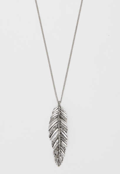 hinged feather pendant necklace