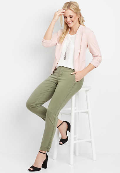 olive side stripe slouchy chino pant