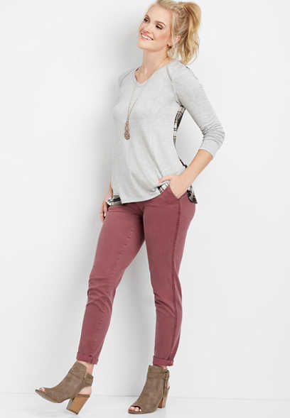 plum side stripe slouchy chino pant