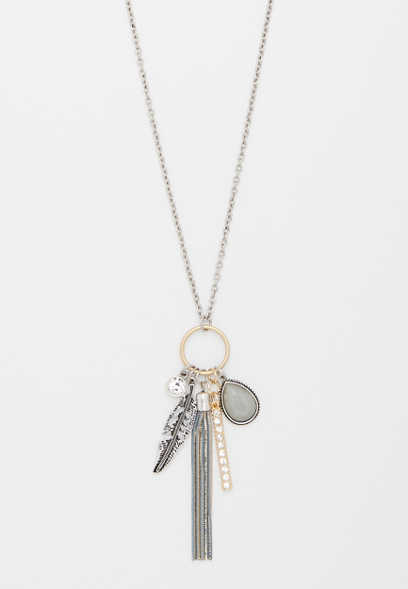 tassel and feather cluster pendant necklace