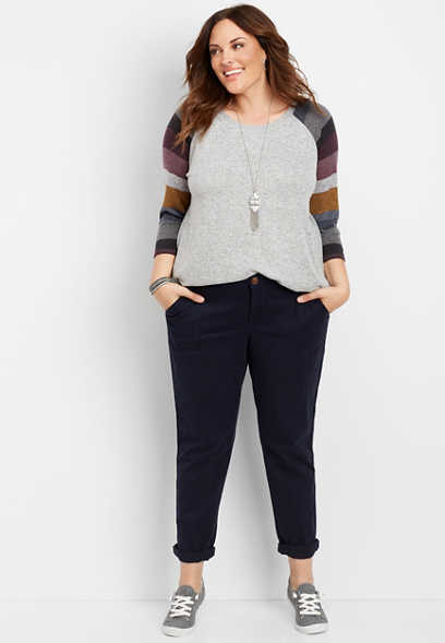 plus size navy side stripe slouchy chino pant