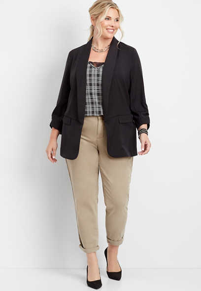 plus size khaki side stripe slouchy chino pant