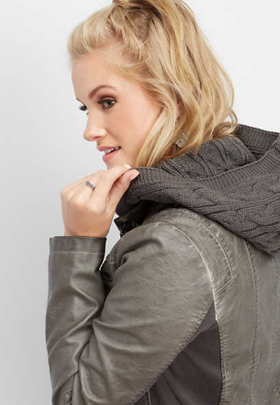 cable knit hood faux leather jacket