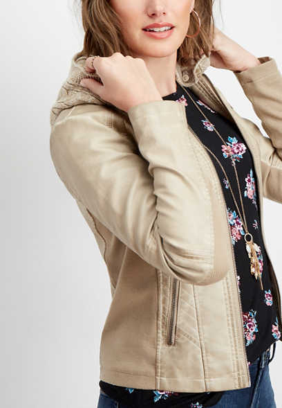 light taupe hooded jacket