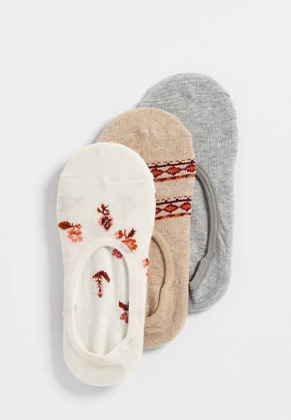floral no show sock three pack