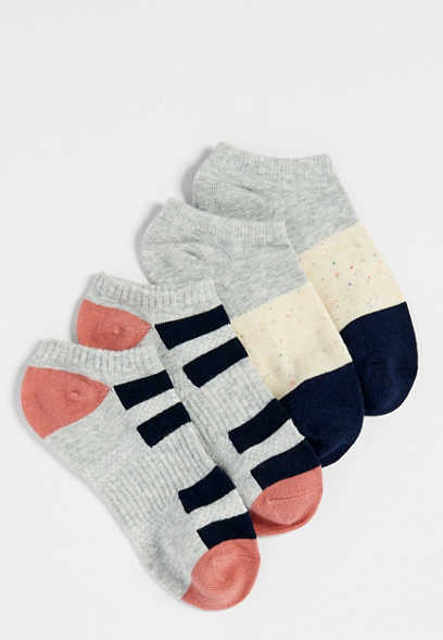 striped colorblock two pack short ankle sock