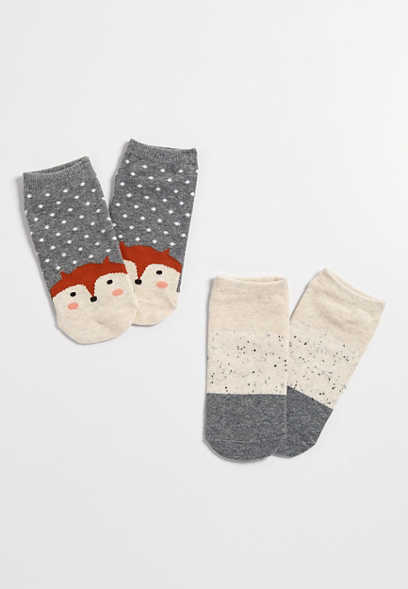 fox print ankle sock two pack