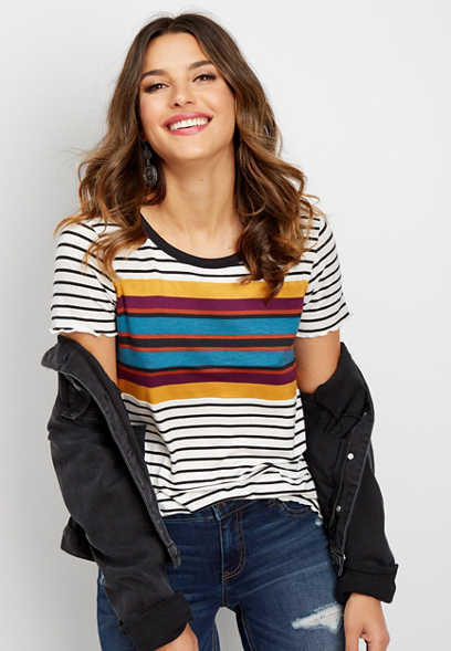 24/7 stripe crew neck tee