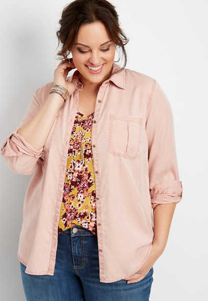 plus size rosy button down shirt