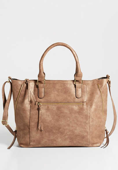 faux leather large zipper satchel