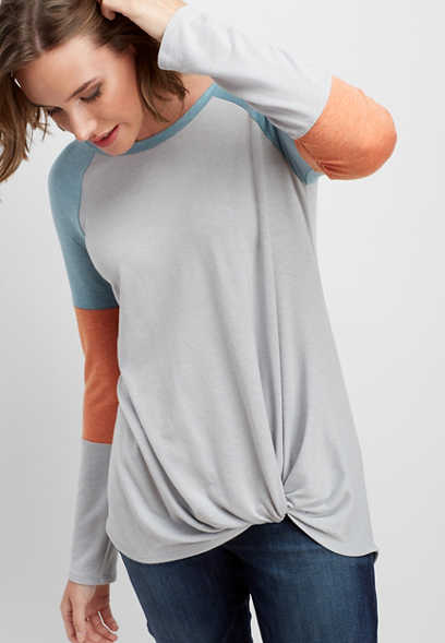 24/7 knot front colorblock tee