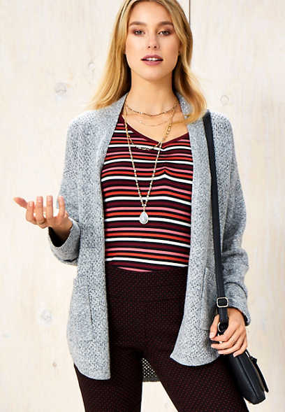 mesh stitch sweater cardigan