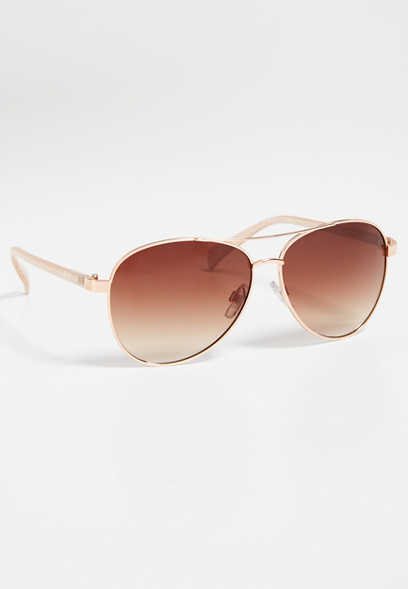 Amore rose goldtone aviator sunglasses