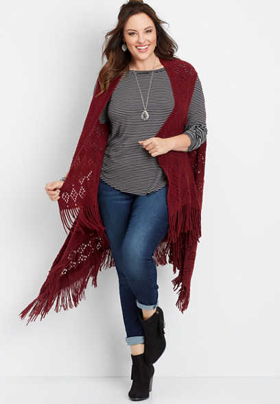 long knit fringe vest