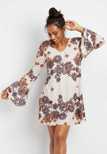 bell sleeve medallion print dress