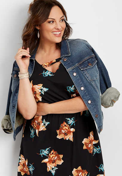 plus size floral keyhole neck dress