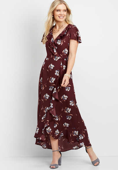 ruffled floral surplice maxi dress