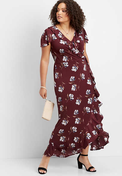 plus size ruffle surplice floral maxi dress