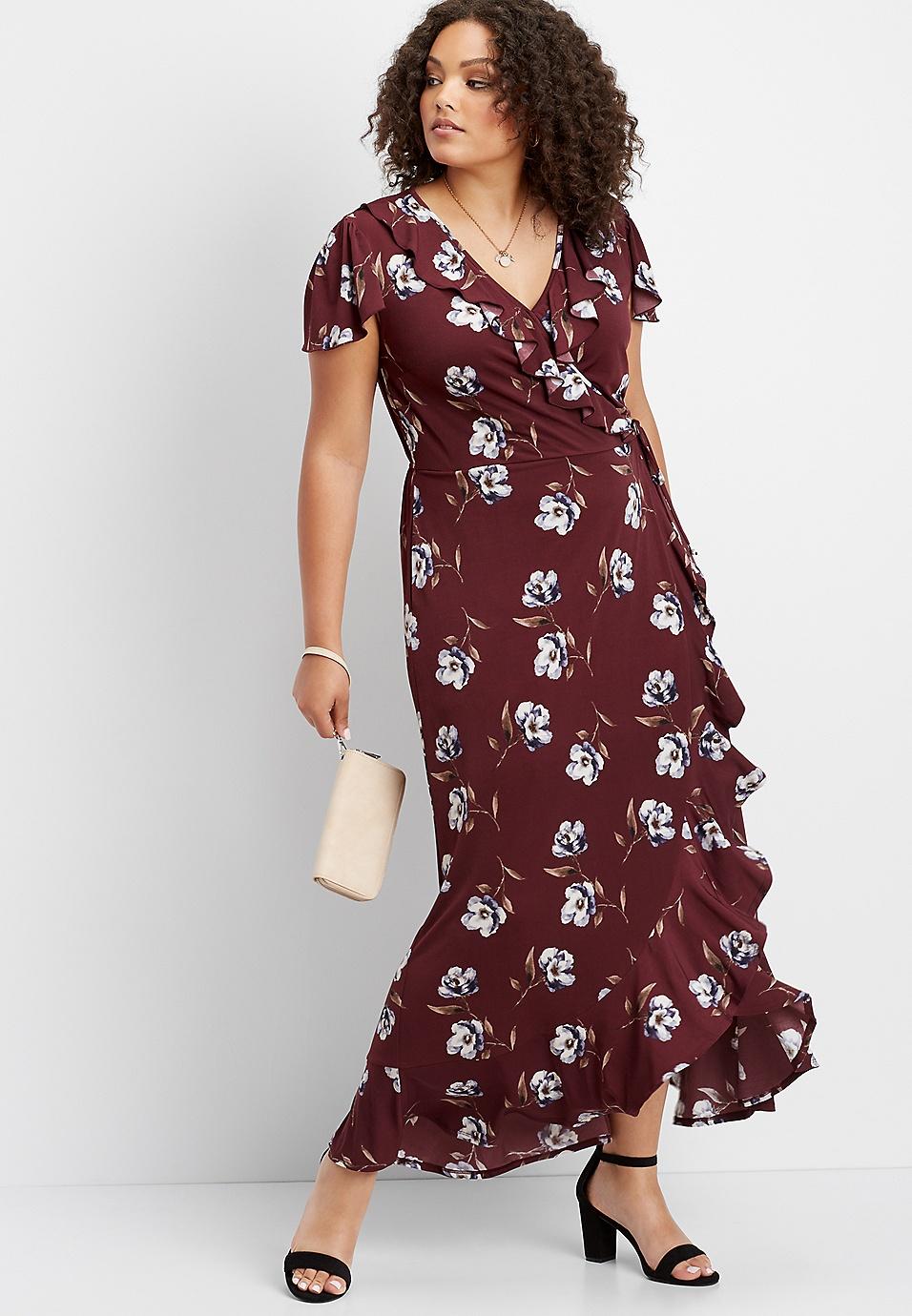 0a7a682032 plus size ruffle surplice floral maxi dress