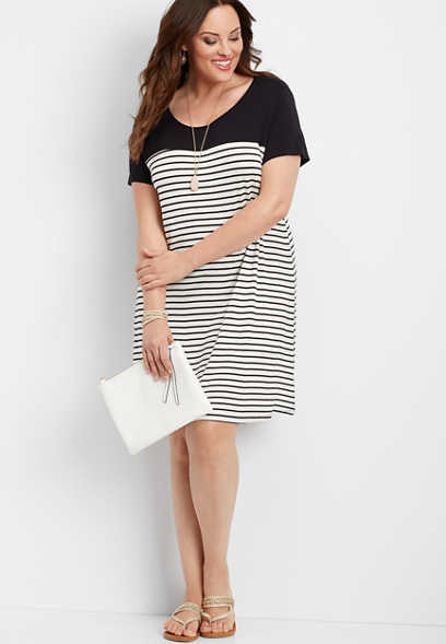 plus size 24/7 striped colorblock dress
