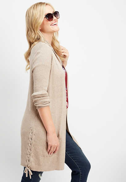 ribbed lace up side sweater cardigan