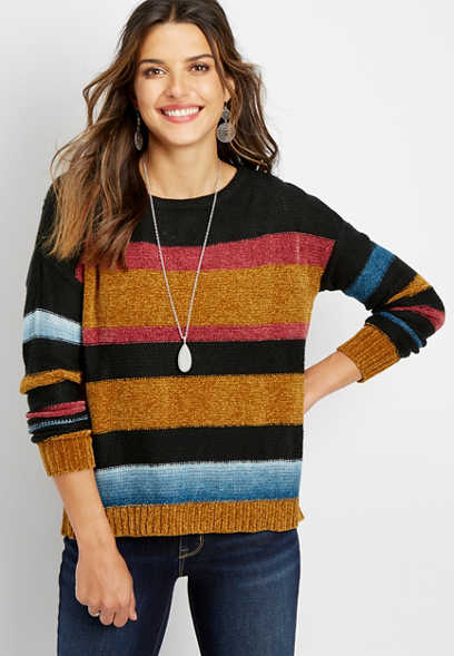 chenille stripe pullover sweater