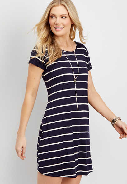 striped lattice back shirtdress