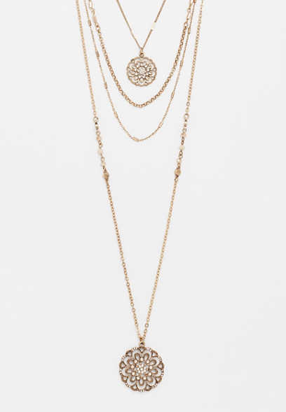 gold tone medallion layered necklace