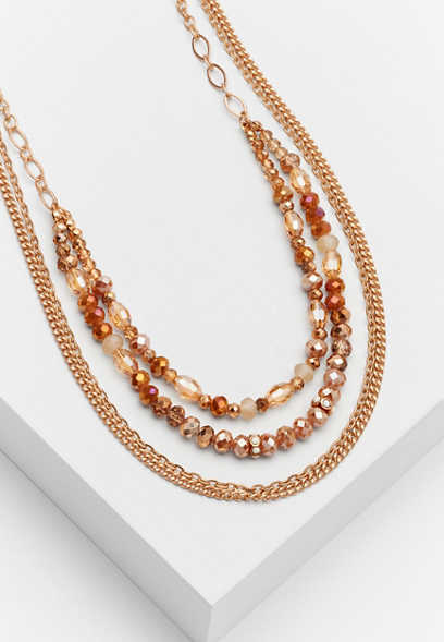 beaded goldtone drape necklace