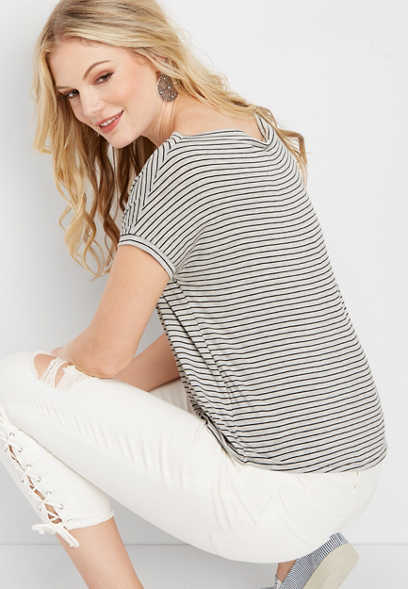 24/7 drape neck striped crop tee
