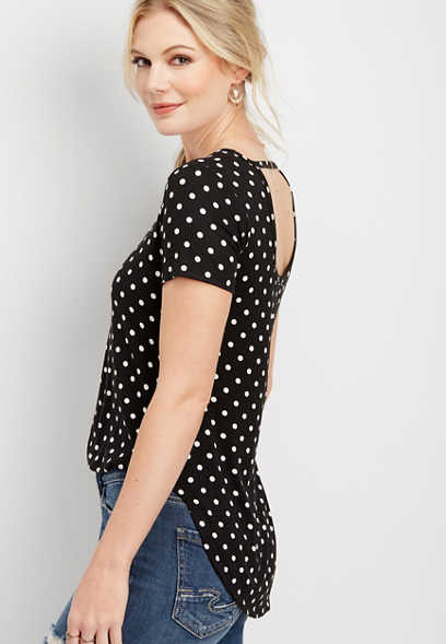 24/7 key hole back dot print tee