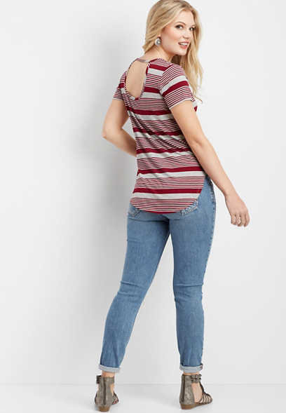 24/7 keyhole back striped tee