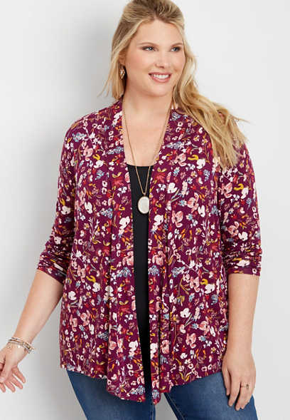 plus size crocheted back strip floral cardigan